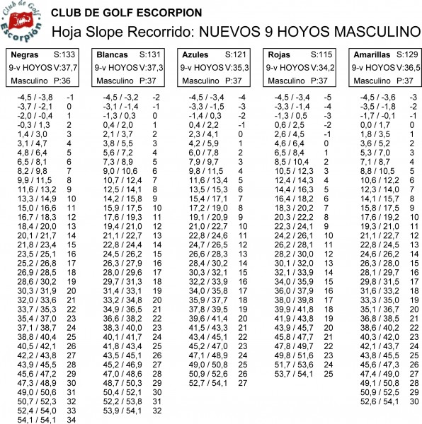 NUEVOS 9 HOYOS MASCULINO